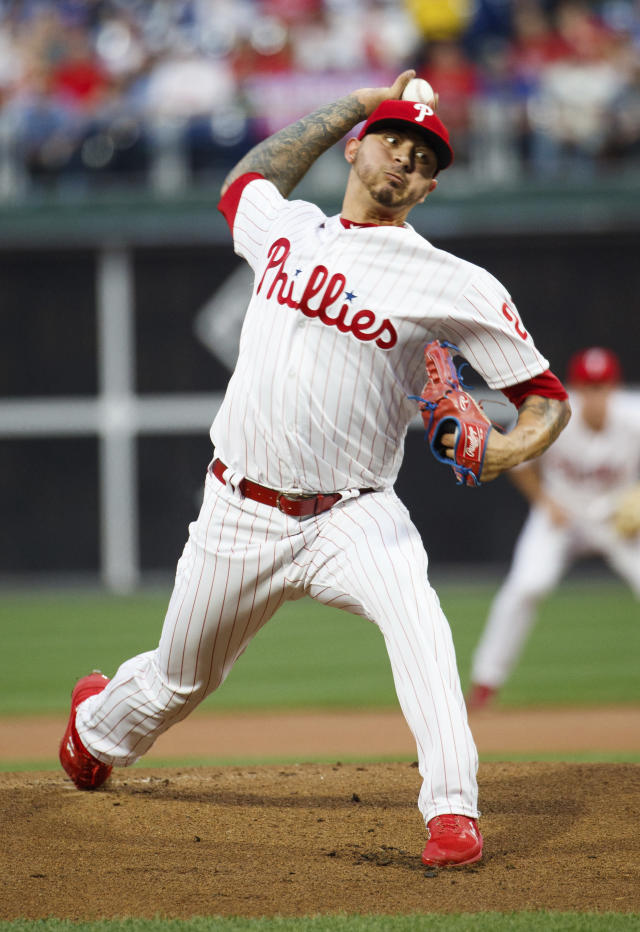 Philadelphia Phillies starting pitcher Vince Velasquez throws during the first inning of a baseball game against the Washington Nationals, Monday, April 8, 2019, in Philadelphia. (AP Photo/Chris Szagola)