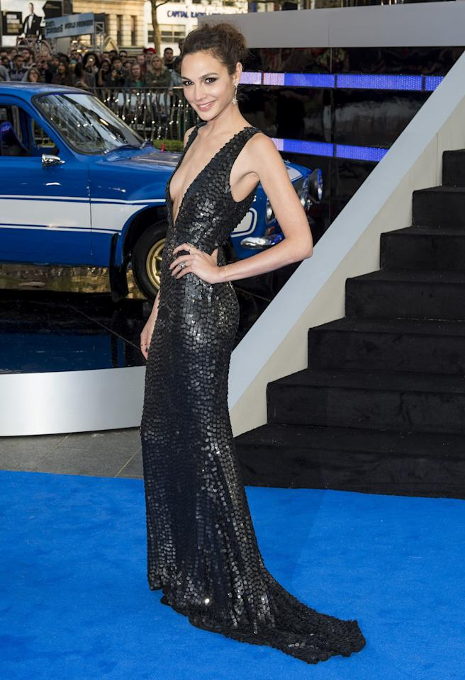 <p>The actress appeared at the London World Premiere of <em>Fast & Furious 6</em> in a edgy black beaded gown that featured a plunging neckline.</p>