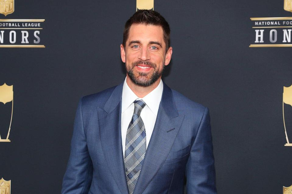 MINNEAPOLIS, MN - FEBRUARY 03:  Green Bay Packer Aaron Rodgers poses for Photographs on the Red Carpet at NFL Honors during Super Bowl LII week on February 3, 2018, at Northrop at the University of Minnesota in Minneapolis, MN.  (Photo by Rich Graessle/Icon Sportswire via Getty Images)