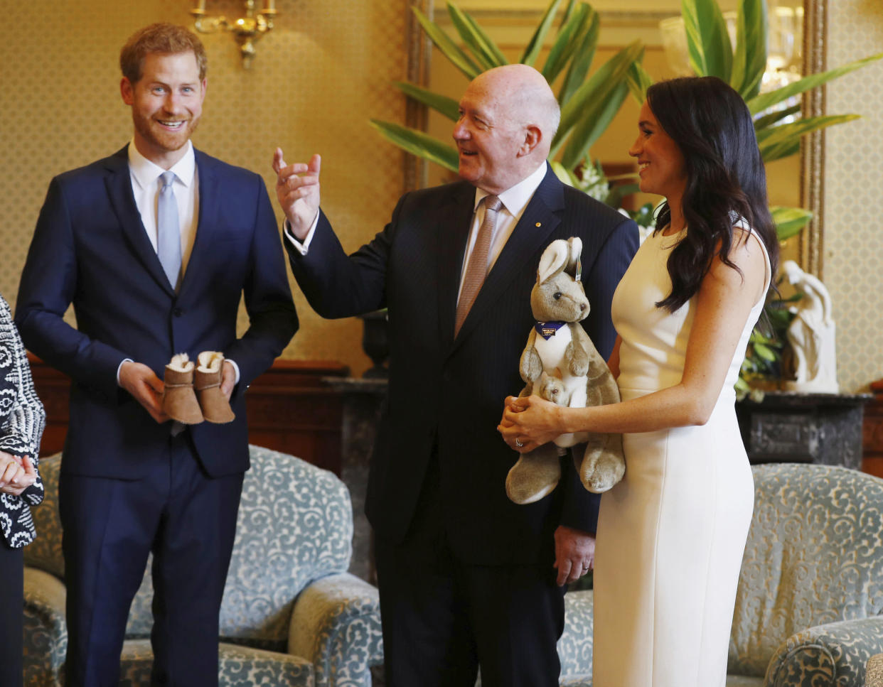 The couple were given a toy wallaby. Photo: AAP
