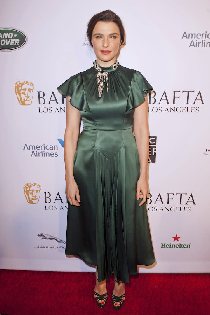 <p>The actress chose a Prada dress for the star-studded event finished with Charlotte Olympia shoes. <em>[Photo: Getty]</em> </p>