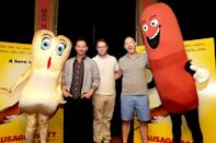 <p>Nick Kroll, Seth Rogen and Evan Goldberg on July 21. <i>(Photo: Eric Charbonneau/Invision for Sony Pictures/AP Images)</i></p>