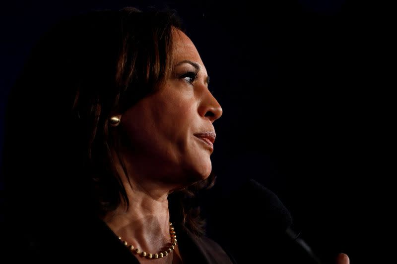 FILE PHOTO: Democratic presidential candidate California Sen. Kamala Harris attends the SEIU's Unions for All summit in Los Angeles