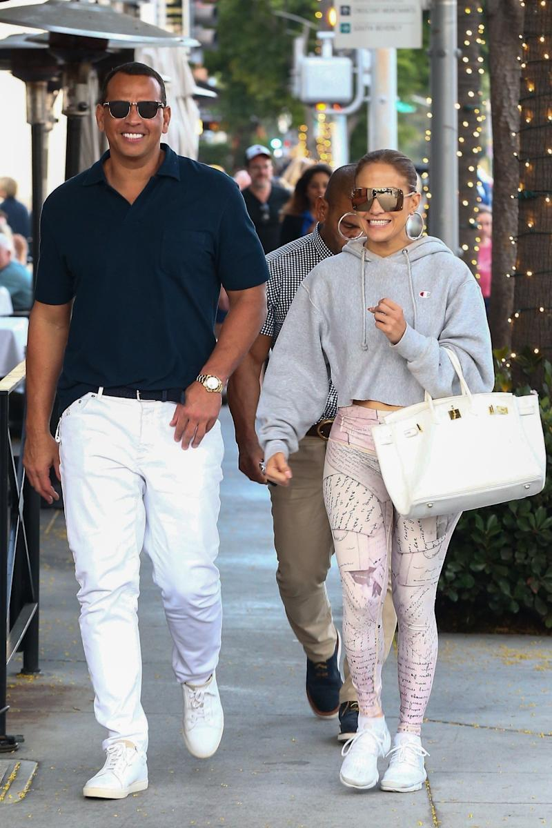 9ddedd1224 Jennifer Lopez and Alex Rodriguez go hand in hand after lunch at Via Alloro