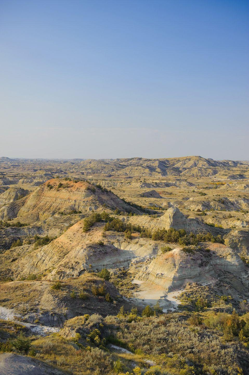 """<p><strong>The Drive: </strong><a href=""""https://www.tripadvisor.com/Attraction_Review-g143052-d144861-Reviews-South_Unit-Theodore_Roosevelt_National_Park_North_Dakota.html"""" rel=""""nofollow noopener"""" target=""""_blank"""" data-ylk=""""slk:Theodore Roosevelt National Park's South Unit"""" class=""""link rapid-noclick-resp"""">Theodore Roosevelt National Park's South Unit</a></p><p><strong>The Scene:</strong> In just 36 miles, loop around the south park entrance to take in incredible views of bison, deer, antelopes, and prairie dogs. Your passengers might even spot a bald eagle in the sky! </p><p><strong>The Pit-Stop:</strong> Bring your camera and head for nearby <a href=""""https://www.tripadvisor.com/LocationPhotoDirectLink-g60973-i22200788-Medora_North_Dakota.html"""" rel=""""nofollow noopener"""" target=""""_blank"""" data-ylk=""""slk:Wind Canyon"""" class=""""link rapid-noclick-resp"""">Wind Canyon</a>, one of the most photographed places in the park. </p>"""