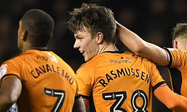 Oskar Buur Rasmussen is congratulated by team-mates after scoring the late equaliser against Hull at Molineux.