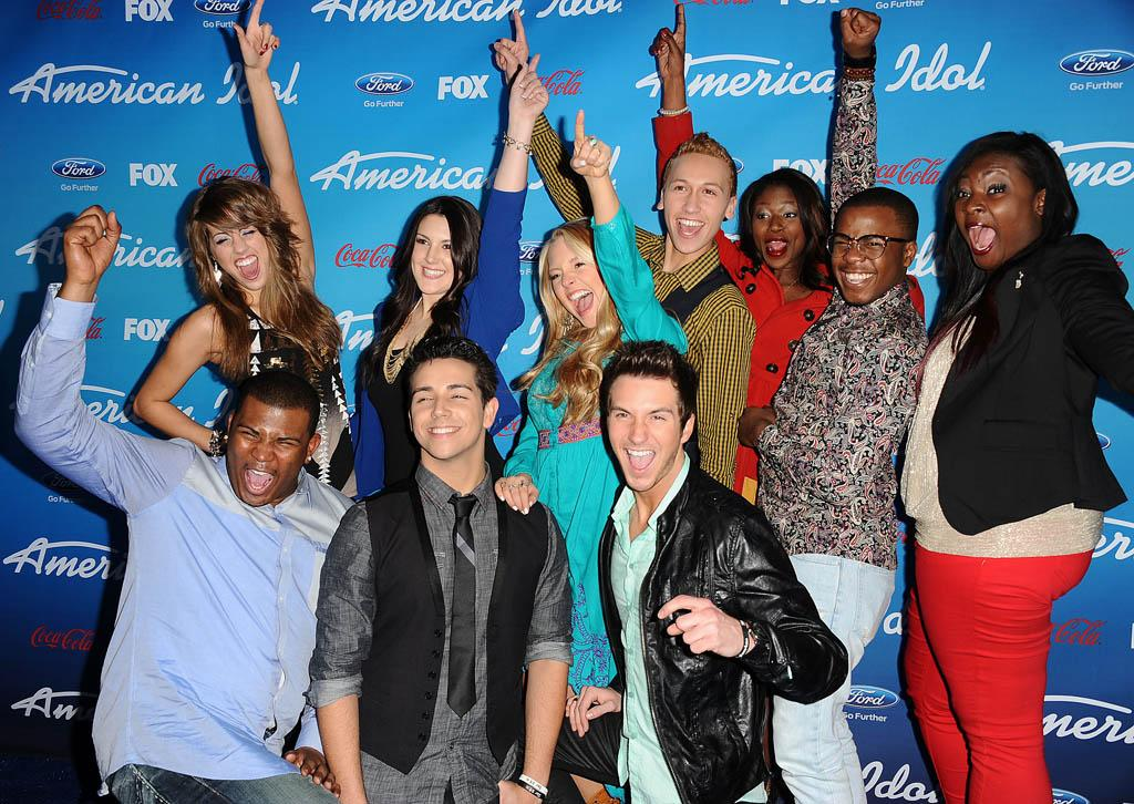 """""""American Idol"""" Top 10 finalists Angie Miller, Kree Harrison, Janelle Arthur, Devin Velez, Amber Holcomb, Burnell Taylor, Candice Glover, Curtis Finch Jr., Lazaro Arbos, and Paul Jolley."""