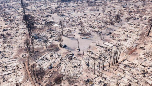 PHOTO: Fire damage is seen from the air in the Coffey Park neighborhood in Santa Rosa, Calif, Oct. 11, 2017. More than 200 fire engines and firefighting crews from around the country were being rushed to California to help battle the fires. (Elijah Nouvelage/AFP/Getty Images)