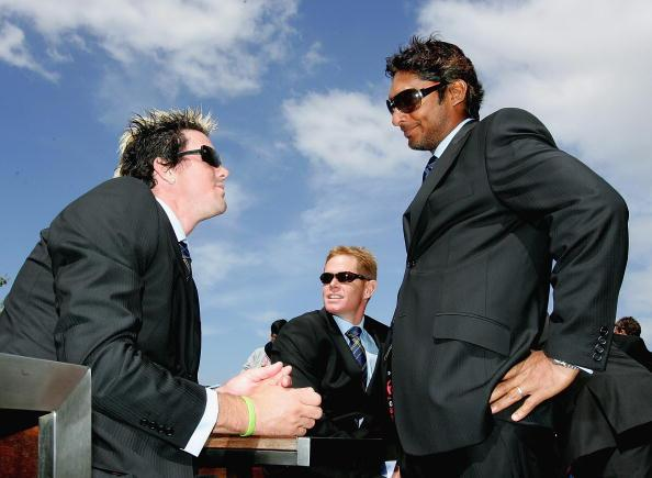 MELBOURNE, AUSTRALIA - OCTOBER 3:  Kevin Pietersen of the ICC World XI chats with teammate Kumar Sangakkara during the ICC Super Series Civic Reception at Federation Square October 3, 2005 in Melbourne, Australia. (Photo by Mark Dadswell/Getty Images)