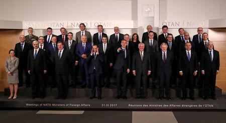 NATO Foreign Ministers take part in a meeting at the Alliance's headquarters in Brussels