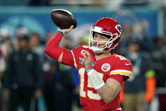 """The <a class=""""link rapid-noclick-resp"""" href=""""/nfl/teams/kansas-city/"""" data-ylk=""""slk:Kansas City Chiefs"""">Kansas City Chiefs</a>' Patrick Mahomes is the only quarterback PFF has recorded who has graded above 75 on more than 50 percent of games with 40 or more dropbacks. (AP/David J. Phillip)"""