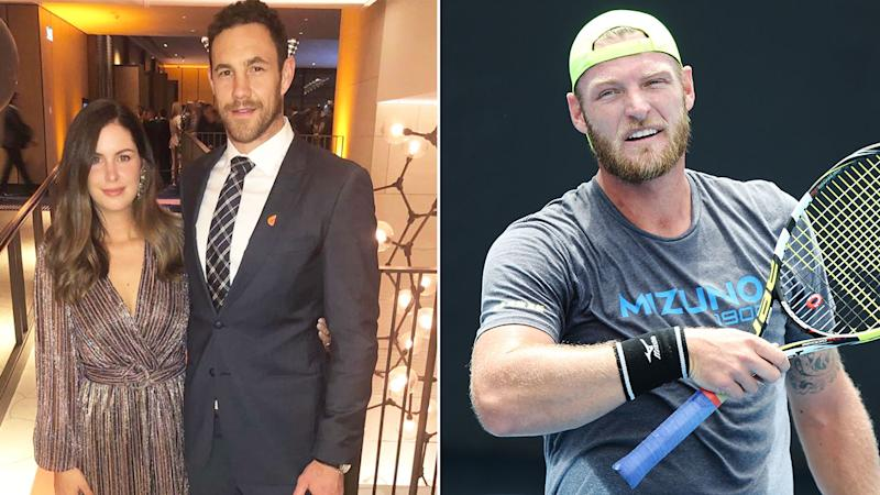 Pictured left, AFL star Shane and wife Eva Mumford, as well as tennis player Sam Groth.