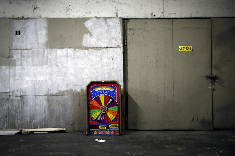 A discarded gaming machine in the basement at the Central Bus Station on May 25. (Photo: Corinna Kern/Reuters)
