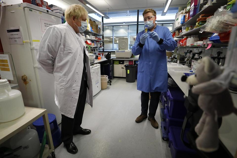 Boris Johnson during a visit to the Jenner Institute in Oxford, where toured the laboratory and met scientists (PA)