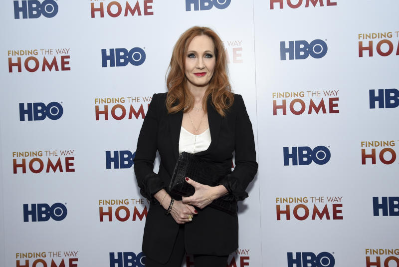 "Author and Lumos Foundation founder J.K. Rowling attends the HBO Documentary Films premiere of ""Finding the Way Home"" at 30 Hudson Yards on Wednesday, Dec. 11, 2019, in New York. (Photo by Evan Agostini/Invision/AP)"