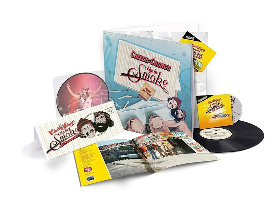 """<p>Give the gift of laughter with this limited a 12-by-12 package, which pairs the comedy cult classic film on Blu-ray with the original soundtrack on CD and vinyl LP, as well as a 7-inch picture disc — and, of course, oversized """"Up in Smoke"""" rolling papers. </p>"""