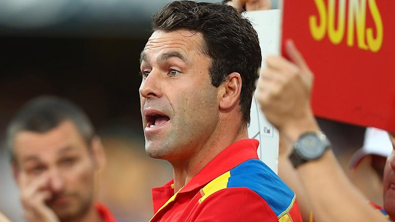 Dean Solomon is pictured during his tenure as the Gold Coast Suns' interim coach.