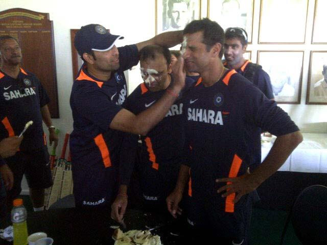 <p>Rahul Dravid was still a member of the Indian National squad on his 39th birthday. Here he is celebrating with teammates in Perth during India's tour of Australia. Dravid played what was to be his last match on that tour in Adelaide. Photo by Pragyan Ojha </p>