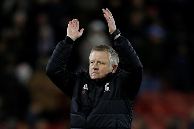 "Soccer Football - Championship - Sheffield United vs Queens Park Rangers - Bramall Lane, Sheffield, Britain - February 20, 2018 Sheffield United manager Chris Wilder applauds the fans at the end of the match Action Images/Ed Sykes EDITORIAL USE ONLY. No use with unauthorized audio, video, data, fixture lists, club/league logos or ""live"" services. Online in-match use limited to 75 images, no video emulation. No use in betting, games or single club/league/player publications. Please contact your account representative for further details."