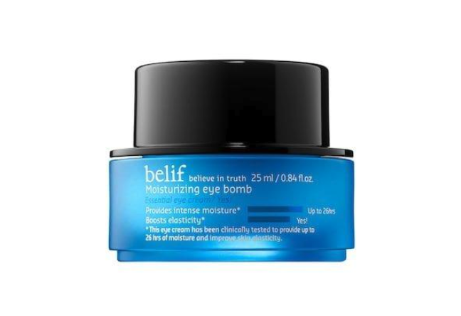 """<p>This moisturizing eye cream is light enough to wear under makeup but packs a heavy hydration punch, with one customer explaining it """"makes me look like I've had 10 hours of sleep when I'm really running on four.""""</p> <p><strong>Buy it:</strong> $48, <a rel=""""nofollow noopener"""" href=""""https://www.sephora.com/product/moisturizing-eye-bomb-P422905?skuId=1997394&icid2=kbeauty_lp_essentials_eye_cream_03_us_100118_carousel:p422905"""" target=""""_blank"""" data-ylk=""""slk:Sephora"""" class=""""link rapid-noclick-resp"""">Sephora</a></p>"""