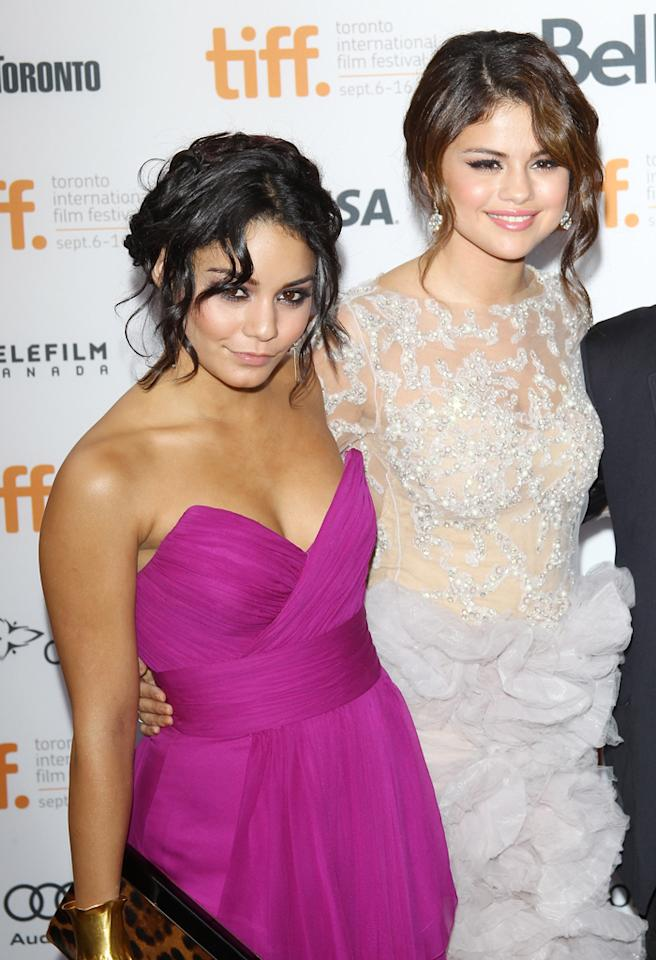 "TORONTO, ON - SEPTEMBER 07:  Vanessa Hudgens (L) and Selena Gomez arrive at ""Spring Breakers"" premiere during the 2012 Toronto International Film Festival held at Ryerson Theatre on September 7, 2012 in Toronto, Canada.  (Photo by Michael Tran/FilmMagic)"