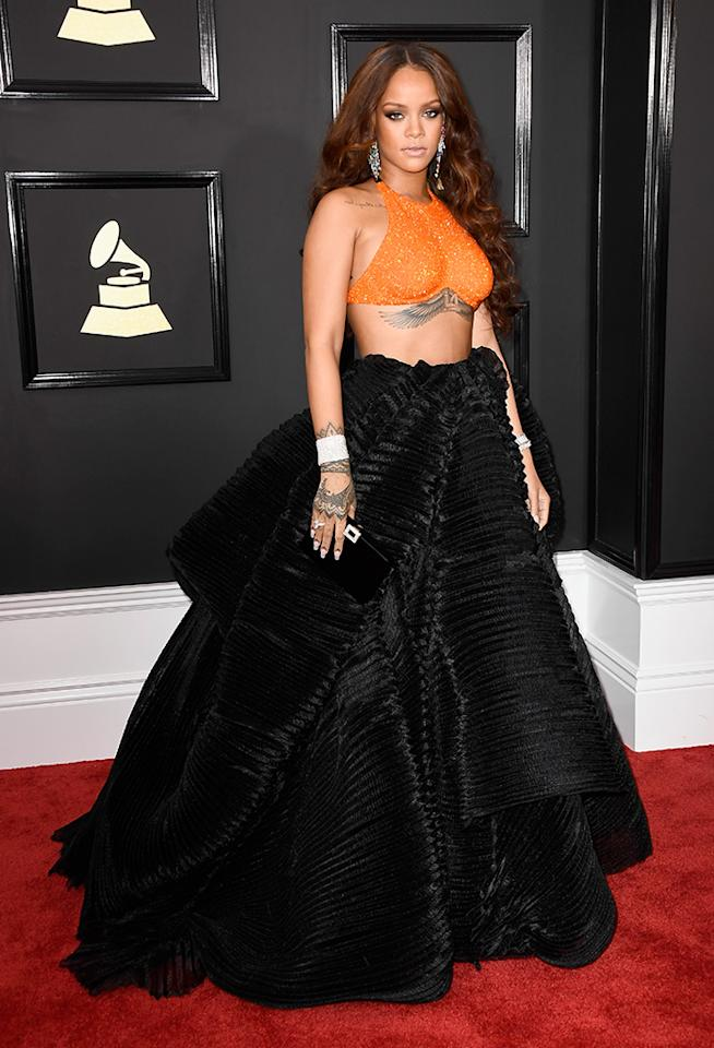 <p>Singer Rihanna attends the 59th Grammy Awards. (Photo: Frazer Harrison/Getty Images) </p>