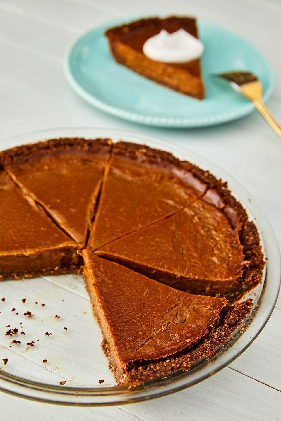"<p>A tried-and-true Thanksgiving classic, this scrumptious <a href=""https://www.goodhousekeeping.com/holidays/thanksgiving-ideas/g4721/sweet-potato-pie/"" rel=""nofollow noopener"" target=""_blank"" data-ylk=""slk:sweet potato pie"" class=""link rapid-noclick-resp"">sweet potato pie</a> is so good that your guests won't even notice that it's vegan. </p><p><em><a href=""https://www.delish.com/holiday-recipes/thanksgiving/a22655817/easy-vegan-sweet-potato-pie-recipe/"" rel=""nofollow noopener"" target=""_blank"" data-ylk=""slk:Get the recipe at Delish »"" class=""link rapid-noclick-resp"">Get the recipe at Delish »</a></em></p>"