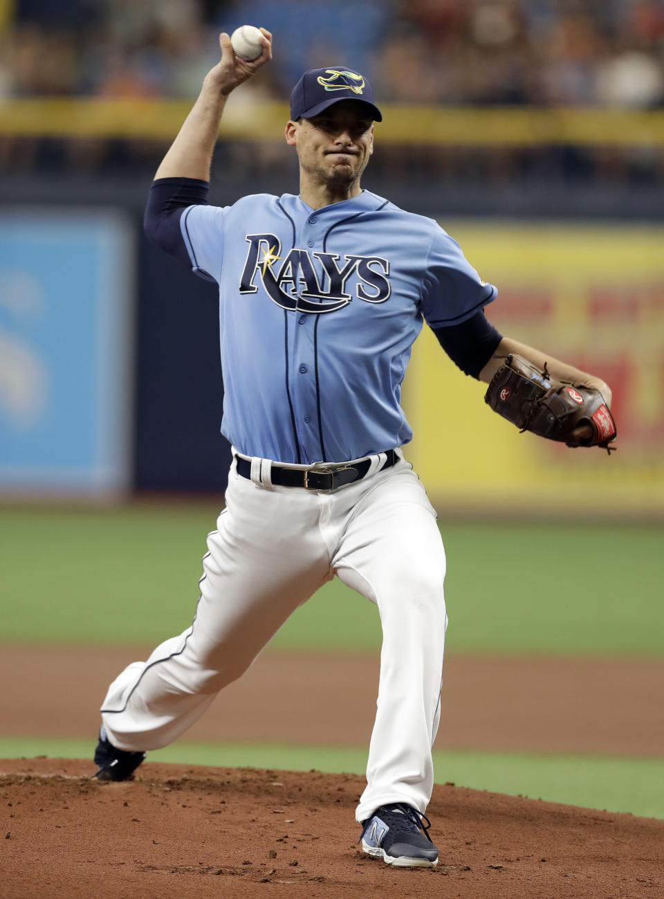 Tampa Bay Rays' Charlie Morton pitches to the Cleveland Indians during the first inning of a baseball game Sunday, Sept. 1, 2019, in St. Petersburg, Fla. (AP Photo/Chris O'Meara)