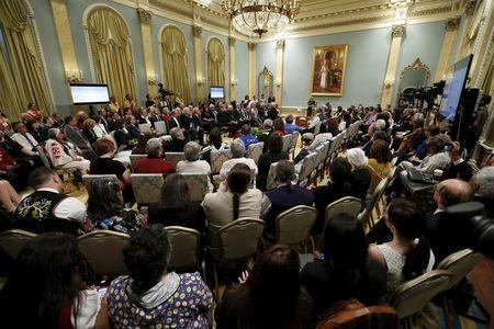 Attendees of the Truth and Reconciliation Commission of Canada's take part in a closing ceremony at Rideau Hall in Ottawa June 3, 2015. REUTERS/Blair Gable