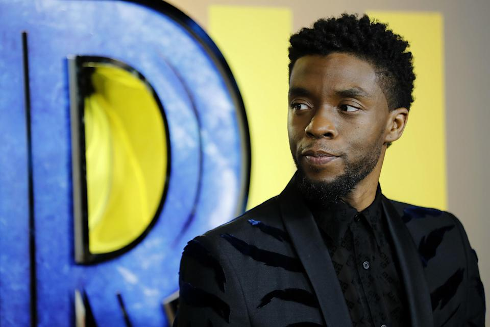 """Chadwick Boseman is photographed at an event for """"Black Panther"""""""