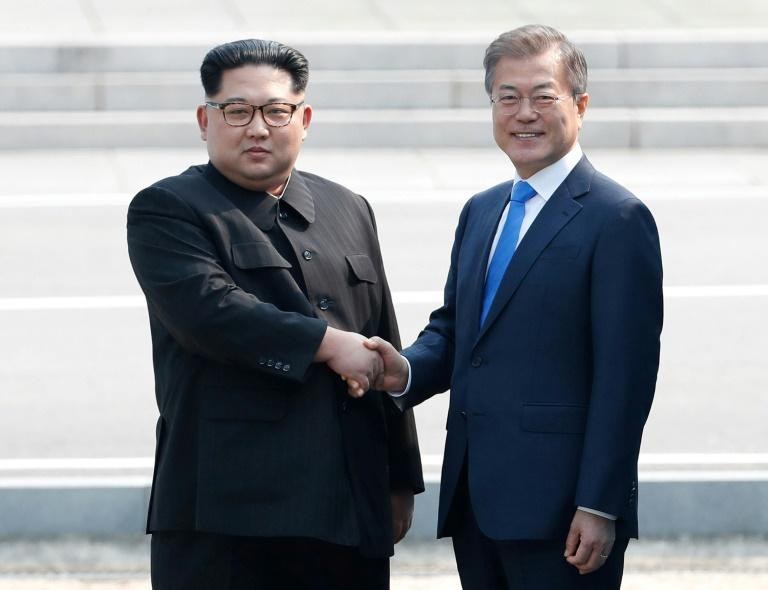 North Korean leader Kim Jong Un, left, met South Korean President Moon Jae-in for a historic border summit in April