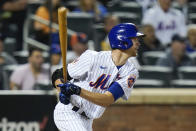 New York Mets' Jacob deGrom (48) follows through on a two-run single during the fifth inning of a baseball game against the San Diego Padres, Friday, June 11, 2021, in New York. (AP Photo/Frank Franklin II)