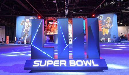 Jan 31, 2019; Atlanta, GA, USA; General overall vow of the Super Bowl LII letters and images of New England Patriots quarterback Tom Brady (12) and Los Angeles Rams quarterback Jared Goff (16) at the Super Bowl LIII Experience at the Georgia World Congress Center. Mandatory Credit: Kirby Lee-USA TODAY Sports