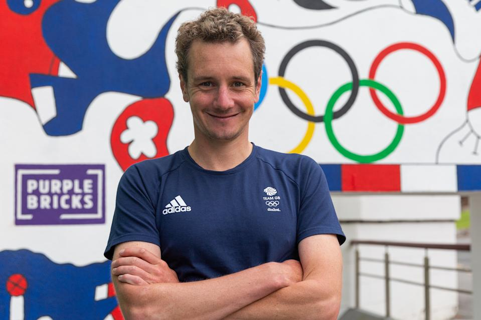 Alistair Brownlee at the unveiling of a a specially commissioned mural, one of 10 unique walls of art that will be appearing across the country to inspire home support for Team GB at games this summer, courtesy of Purplebricks home support campaign.