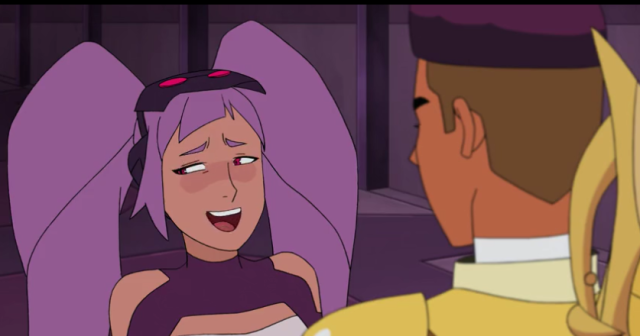 The character Entrapta talks to another character