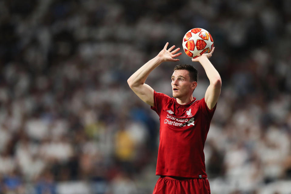 MADRID, SPAIN - JUNE 01: Andrew Robertson of Liverpool preparing to take a throw in during the UEFA Champions League Final between Tottenham Hotspur and Liverpool at Estadio Wanda Metropolitano on June 1, 2019 in Madrid, Spain. (Photo by Matthew Ashton - AMA/Getty Images)