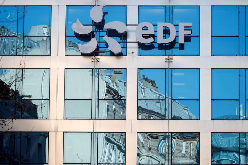 FILE PHOTO: The logo of EDF is seen on the French state-controlled utility EDF's headquarters in Paris