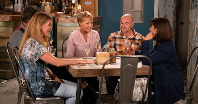 Gina enjoys a meal with sister Sally and her partner Tim. (ITV Pictures)