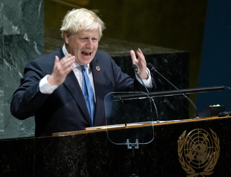 British Prime Minister Boris Johnson addresses the 74th session of the United Nations General Assembly, Tuesday, Sept. 24, 2019, at U.N. headquarters. (AP Photo/Craig Ruttle)
