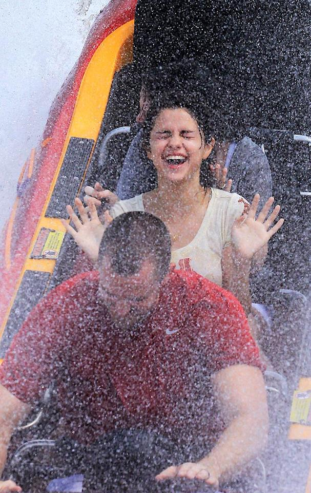 "At Florida's Universal Studios, Selena Gomez went for a ride, but her boyfriend, Justin Bieber, was nowhere in sight. Rumor has it the young couple's relationship may be in the rocks. What do you think? Rachid Ait/Thibault Monnier/<a href=""http://www.pacificcoastnews.com/"" target=""new"">PacificCoastNews.com</a> - July 29, 2011"