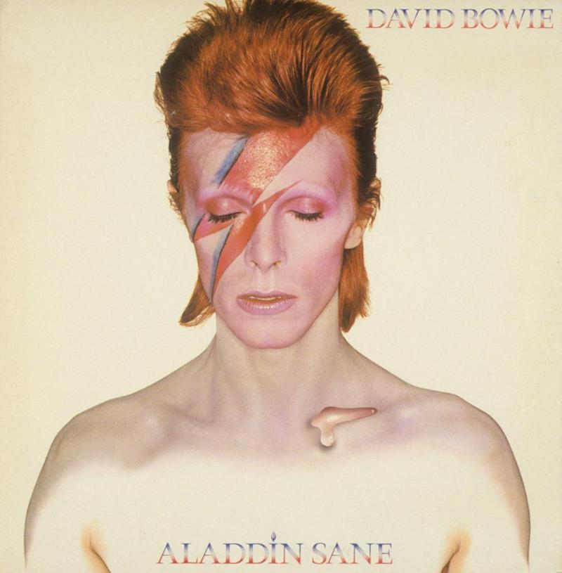 David Bowie album cover of Aladdin Sane, originally photographed by Brian Duffy.
