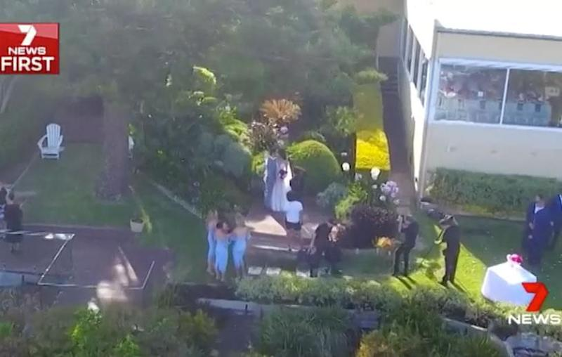Cooper Cronk and Tara Rushton lock lips at their wedding. Source: Channel Seven
