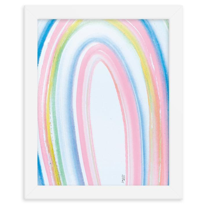 """Brighten up her nursery with this pastel rainbow print. It comes shipped in a white <a href=""""https://glamour.com/gallery/cheap-picture-frames"""" rel=""""nofollow noopener"""" target=""""_blank"""" data-ylk=""""slk:wooden frame"""" class=""""link rapid-noclick-resp"""">wooden frame</a> so it's ready to hang upon arrival. $65, Maison Rainbow. <a href=""""https://maisonrainbow.com/collections/art-prints/products/white-sands"""" rel=""""nofollow noopener"""" target=""""_blank"""" data-ylk=""""slk:Get it now!"""" class=""""link rapid-noclick-resp"""">Get it now!</a>"""