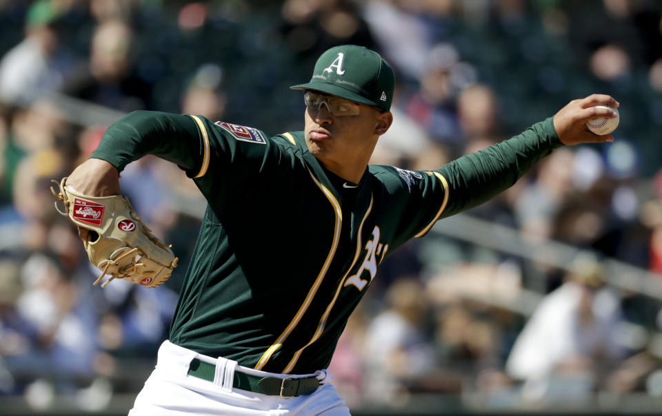 Jesus Luzardo was acquired by the A's last season as part of the Sean Doolittle-Ryan Madson trade. (AP)