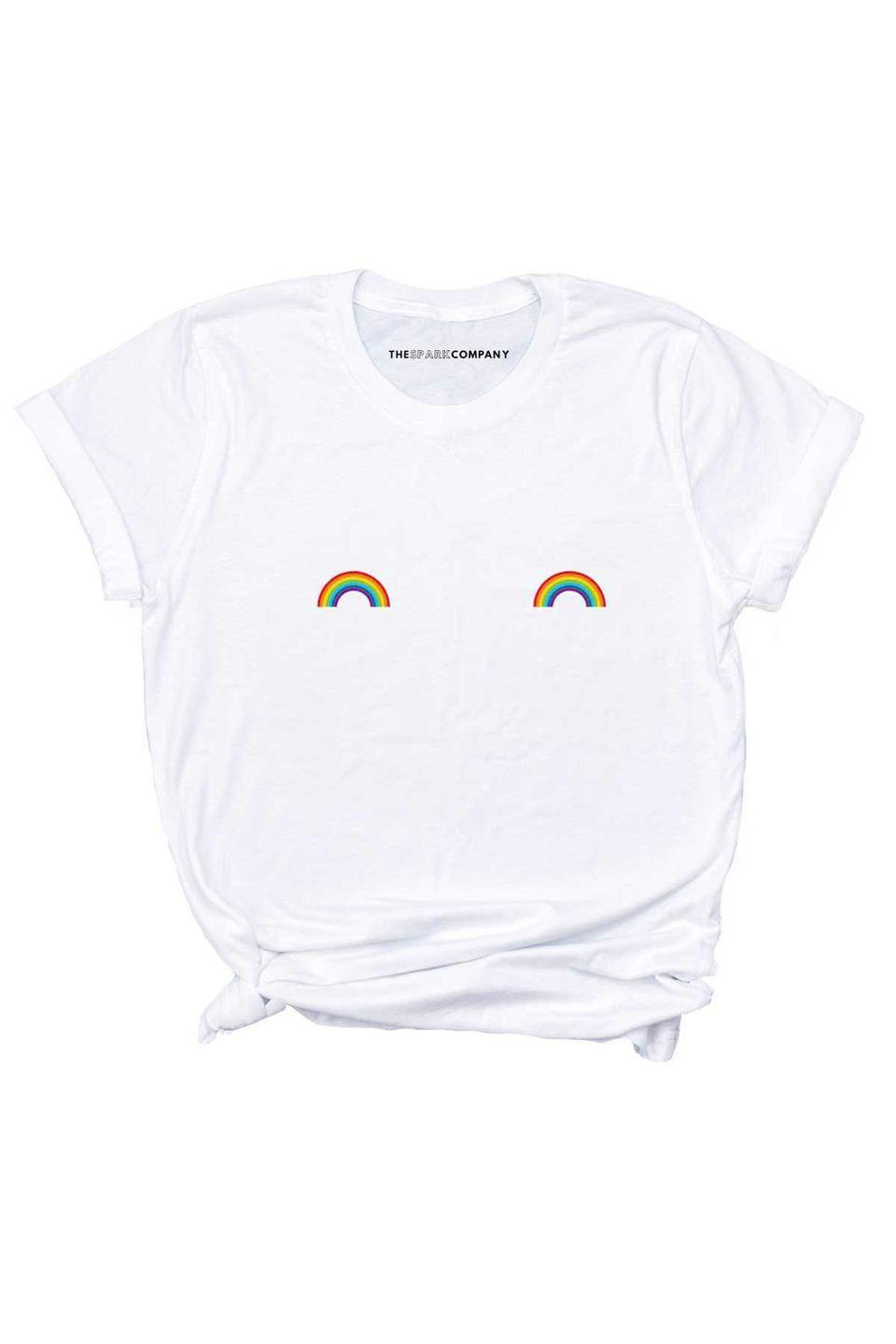 """<p><a class=""""link rapid-noclick-resp"""" href=""""https://go.redirectingat.com?id=127X1599956&url=https%3A%2F%2Fthespark.company%2Fcollections%2Flgbt-pride-t-shirts%2Fproducts%2Frainbow-tee&sref=https%3A%2F%2Fwww.harpersbazaar.com%2Fuk%2Ffashion%2Fg28117677%2Fpride-fashion%2F"""" rel=""""nofollow noopener"""" target=""""_blank"""" data-ylk=""""slk:SHOP NOW"""">SHOP NOW</a></p><p>The Spark Company aims to spread the word that everyone should be treated equally, regardless of size, gender, sexuality or ethnicity. Its Pride Rainbow Nipple range, designed to free the nipple, is all about being your true-self right where everyone can see it.</p><p>Nipple rainbow T-shirt, £19.95, The Spark Company</p>"""