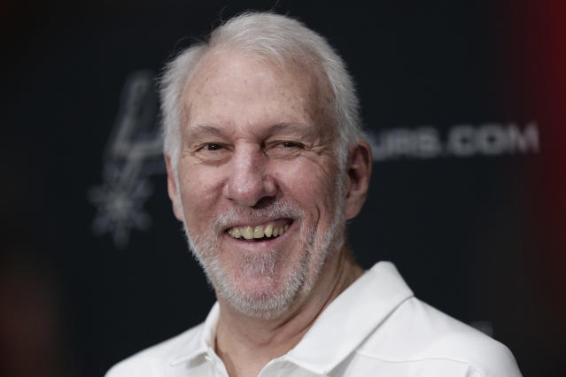 Spurs head coach Gregg Popovich continued to respond to President Trump. (AP Photo/Eric Gay)