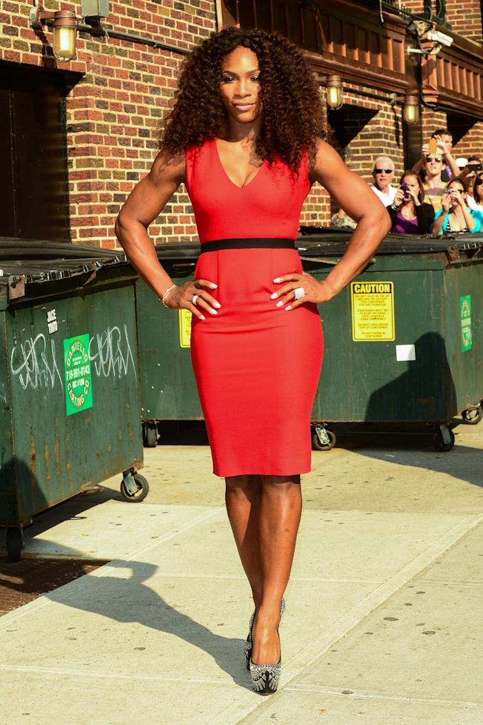 NEW YORK, NY - AUGUST 22: Professional tennis player Serena Williams leaves the 'Late Show With David Letterman' taping at the Ed Sullivan Theater on August 22, 2012 in New York City. (Photo by Ray Tamarra/FilmMagic)