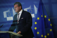 European Commissioner for Inter-institutional Relations and Foresight Maros Sefcovic delivers a statement at the European Commission headquarters in Brussels, Thursday, Dec. 17, 2020. (AP Photo/Francisco Seco)