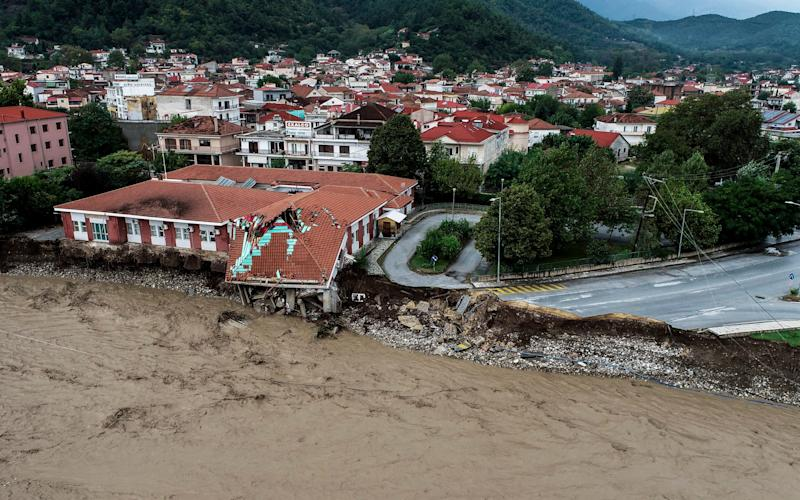 The medical centre of Mouzaki village is seen partially collapsed after a storm, near Karditsa town - AP