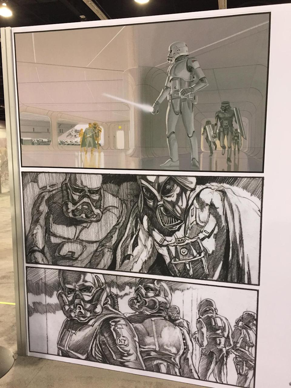 <p>Legendary artist Ralph McQuarrie, whose designs were responsible for much of the look of the 'Star Wars' universe, created several iterations for George Lucas, including an early iteration of lightsaber-sporting troopers.</p>